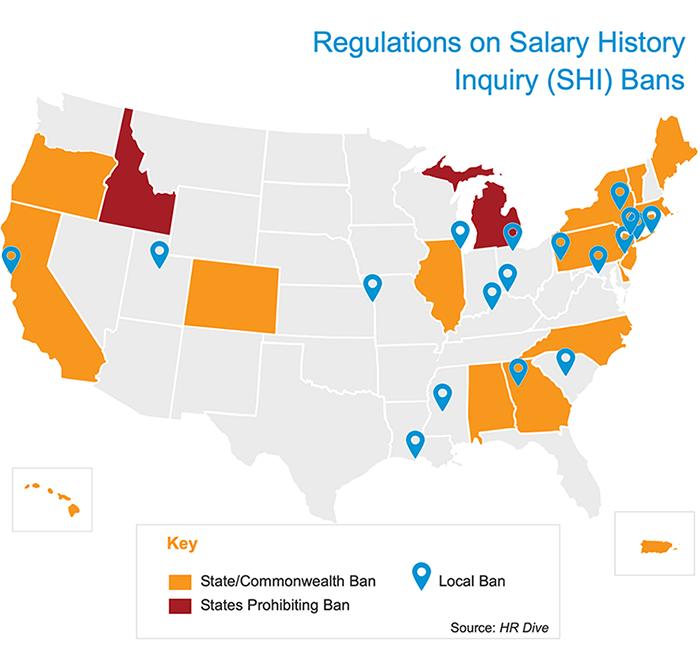 Carte des interdictions d'accès aux antécédents salariaux avec clé