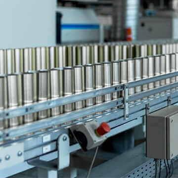 Closeup of a conveyer belt in a factory